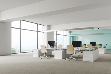 Panoramic white office corner