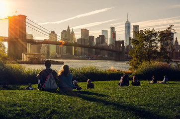 New York City, USA- September-28-2017, Brooklyn bridge on a sunny day
