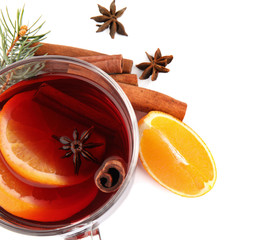 Deurstickers Cocktail Glass cup of mulled wine, fresh orange and cinnamon sticks isolated on white