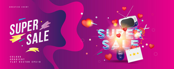 Super sale of 50% off. The concept for big discounts with voluminous text, a retro TV and red hearts on a pink background with light effects. Flat vector illustration EPS10