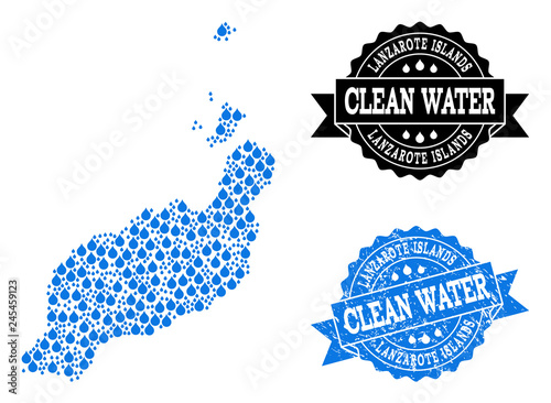 Map of Lanzarote Islands vector mosaic and clean water grunge stamp Drinking Water Map on
