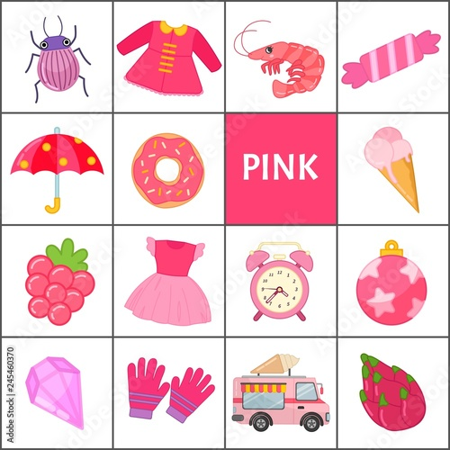 """Fuchsia Coloring Page For Kids: """"Learn The Primary Colors. Pink. Different Objects In Pink"""