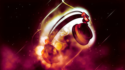 Red Headphones Illustration at bokeh background