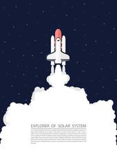Concept Paper art Survey Rocket Solar System Star Galaxy Minimalism Design TextSpace Vector And Illustration