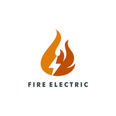 Fire electric logo template vector illustration