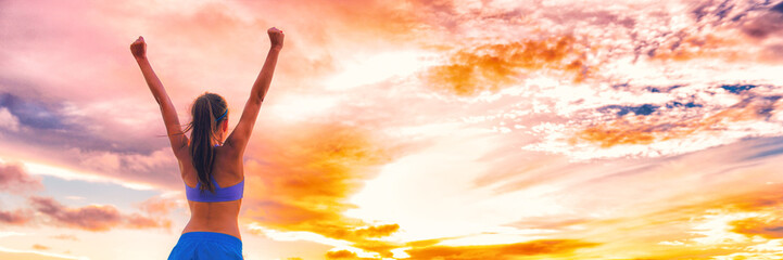 Happy people with arms up in success - Happiness woman active lifestyle banner panorama background . Girl from back in sportswear.