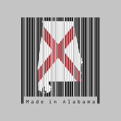 Barcode set the shape to Alabama map outline and the color of Alabama flag on black barcode with grey background, text: Made in Alabama. The states of America.