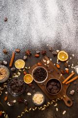 chocolates, ingredients on black table