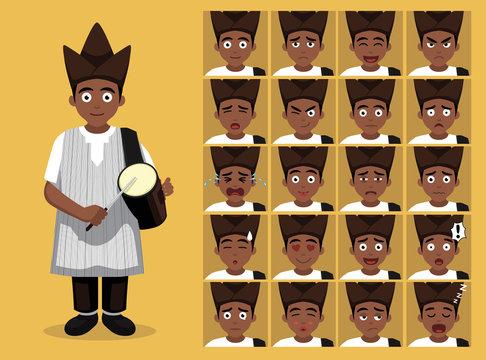 African Tribe Clothes Male Yoruba Cartoon Emotion faces Vector Illustration