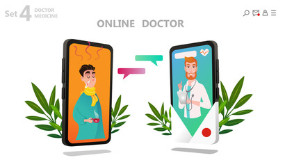 Online doctor character set, patient consultation to the doctor via smartphone, can use for poster, banner, flyer, landing page, template, mobile app, ui, web. Medicine llustration concept - Vector
