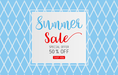 Summer sale text on card for discount promotion on blue background
