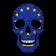 Human skull with European Union flag isolated on black background. Vector skull. Cartoon skull. Skull logo.