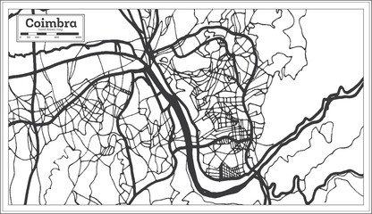 Coimbra Portugal City Map in Retro Style. Outline Map.