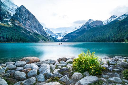 A canoe in Lake Louise, Banff National park, ALberta, Canada