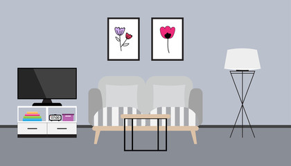 Flat design of living room interior with sofa, pillows, TV, lamp, book and picture frame, vector illustration