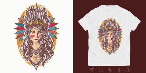 Native American woman. Print for t-shirts and another, trendy apparel design. Girl in costume of american indian. Ethnic warrior
