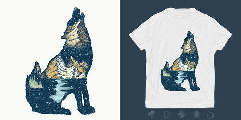 Wolf double exposure. Print for t-shirts and another, trendy apparel design. Symbol tourism, travel, adventure, outdoor