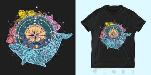 Compass and floral whale. Print for t-shirts and another, trendy apparel design. Mystical symbol of adventure, dreams