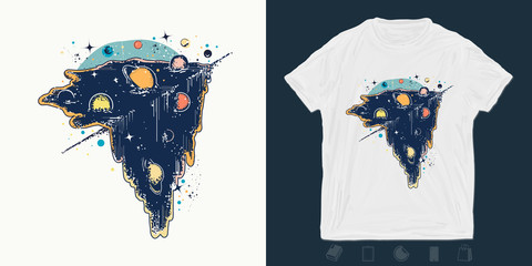 Boundless Universe, planets and stars. Print for t-shirts and another, trendy apparel design. Symbol solar system, creative idea, motivation, science, astronomy