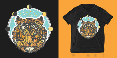 Tiger head. Print for t-shirts and another, trendy apparel design. Symbol of wisdom, force, soul