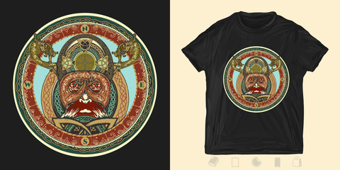 Viking. Celtic print for t-shirts and another, trendy apparel design. Ring with scandinavian ornament. North amulet forces ethnic style