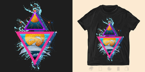 Jumping dolphins in sea. Print for t-shirts and another, trendy apparel design. Neon  geometric 80s style