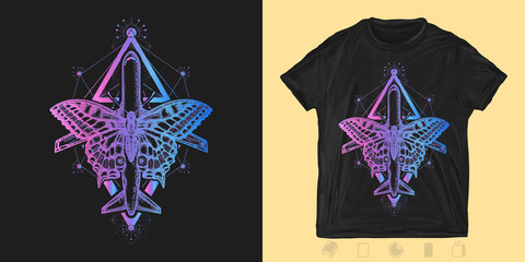 Butterfly and air plane neon style. Print for t-shirts and another, trendy apparel design. Symbol of tourism, travel, dream, holidays, freedom, flight, adventures, motivations, life style