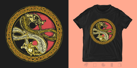 Two celtic dragons. Print for t-shirts and another, trendy apparel design.  Yin yang asian art. Meditation, philosophy, harmony symbol
