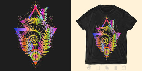 Ancient ammonite in triangle neon style. Print for t-shirts and another, trendy apparel design. Symbol of paleontology, science
