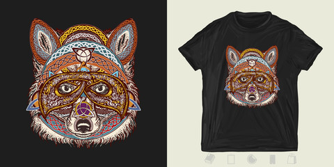 Fox warrior. Print for t-shirts and another, trendy apparel design. Animals in ethnic style
