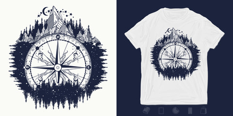 Compass and mountains. Print for t-shirts and another, trendy apparel design.  Adventure, travel, outdoors, symbol