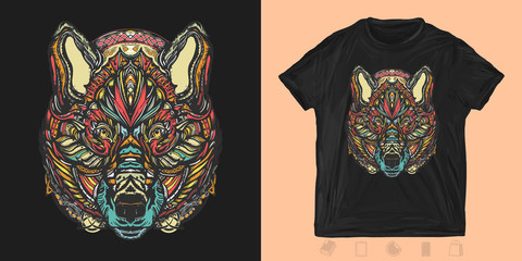 Celtic wolf. Print for t-shirts and another, trendy apparel design. Northern animals, symbol of force, wild nature, outdoors