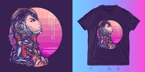 Robot man in headphones listening to music. Print for t-shirts and another, trendy apparel design. Cyberpunk. Portrait of biomechanical soldier, people of future, synthwave, vaporwave art