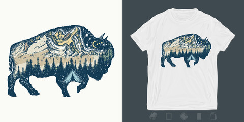 Buffalo bull. Print for t-shirts and another, trendy apparel design. Magic tribal bison double exposure animals. Travel symbol, adventure touri