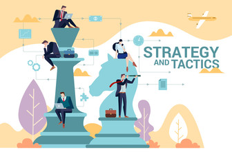 Concept Flat illustration. Business people team play to chess. Strategy and Tactics word.