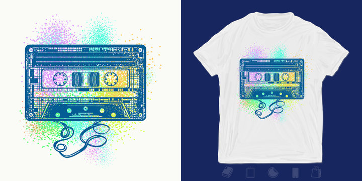 Audio cassette. Print for t-shirts and another, trendy apparel design. Retro music, old school style 80s and 90s