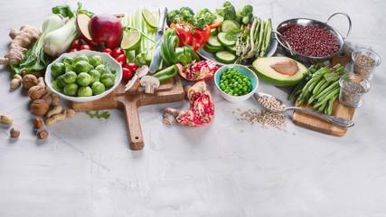Wall Mural - Vegetables, fruit, cereals, beans,  superfoods for vegan, vegetarian, clean eating diet