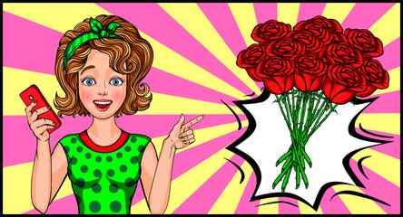 A bouquet of red roses. Selfie with a bouquet of flowers. pop art vector illustration