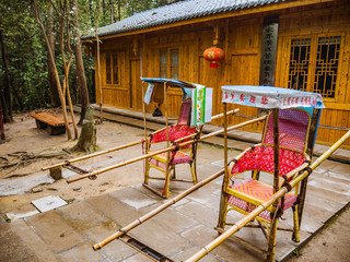 zhangjiajie/China - 14 October 2018:Wooden sedan chair  at Yuanjiajie the Part of Zhangjiajie National Forest Park in Wulingyuan District Zhangjiajie City China