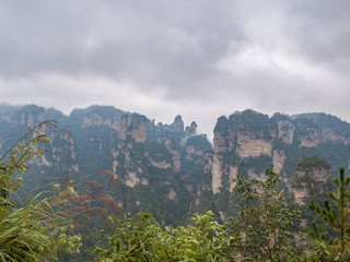 Beautiful mountain of Yuanjiajie or Avartar mountain at Zhangjiajie National Forest Park in Wulingyuan District Zhangjiajie City China in the Foggy day.