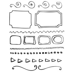 Hand drawn vector border line frame elements set