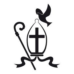 Icona religiosa nero su sfondo bianco