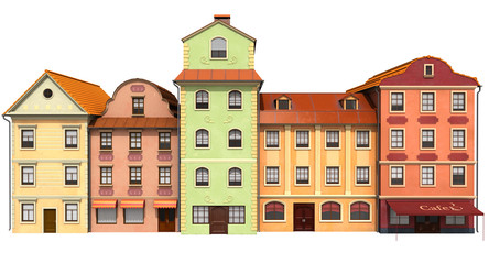 Stylized buildings to old European architecture