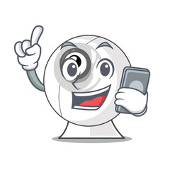 With phone webcam in the shape of mascot