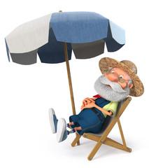 3d illustration Jolly farmer is resting/3d illustration an elderly farmer enjoys a holiday in the sun