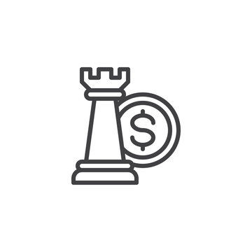 Financial strategy line icon. linear style sign for mobile concept and web design. Chess piece and money outline vector icon. Business investment symbol, logo illustration. Pixel perfect vector