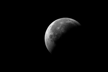 Big Moon in eclipse day 2018,with craters details and also the shadow, taken with large newtonian telescope in black background.