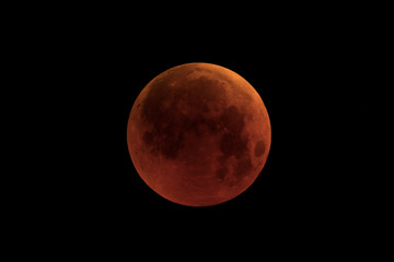 The Blood Moon on eclipse day 2018,in full of shadow version, taken with large newtonian telescope in black background.