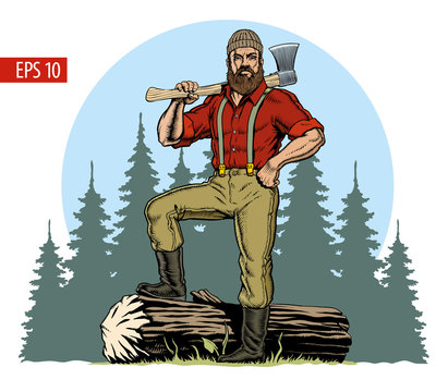 Lumberjack with axe and downed log, forest background. Vector illustration
