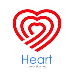 Logotipo abstracto con texto Heart con corazón lineal concéntrico en color rojo